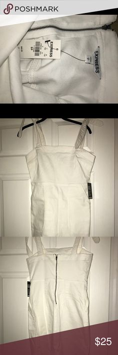 Express White Denim Dress Brand New with Tags Express Denim White Dress. Size Small. Zip closure in the back and tie straps on the arms. Super cute for spring and summer! Never worn! Express Dresses Mini