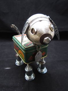 Reserved for Linda  Remington Dog Bot  found object by ckudja