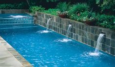 A well-designed swimming pool area transforms a traditional backyard into a tropical haven. Along with paving and legally required fencing, plants are an integral part of the landscaping.