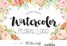 Custom Logo Design watercolor floral logo design watercolor logo photography…
