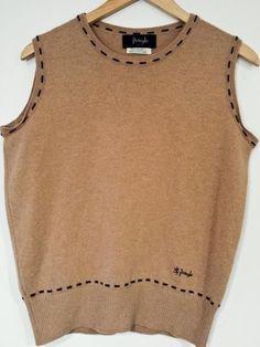 PRINGLE Sport of Scotland Beige Tan Crew Neck Lambswool Wool Sweater Vest Sz M  #Pringle