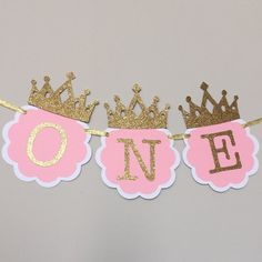 Pink and Gold High Chair Banner. First by TinyEnchantments on Etsy