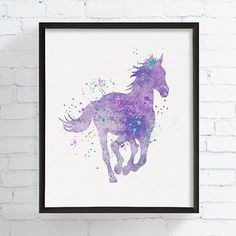 Horse Watercolor, Girls Room Decor, Baby Girl Nursery, Equestrian Girl Art, Cowgirl Nursery, Purple and Grey Nursery, Horse Art, Horse Print