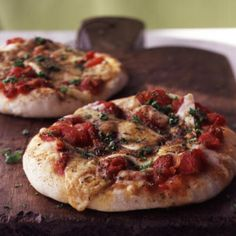"Herbed Cheese Pizza- Cooking Light's Executive Food Editor, Ann Taylor Pittman, gives this pizza rave reviews: ""The dough for this pizza is just perfect, and I love making the individual pizzas and freezing some (unbaked) for later."""