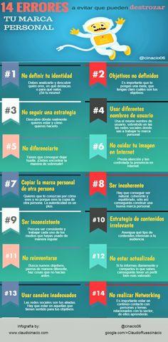 14 errores que pueden destrozar tu marca personal. Infografía en español. #CommunityManager
