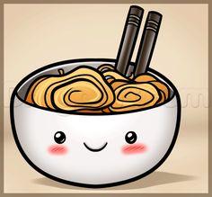how to draw kawaii noodles