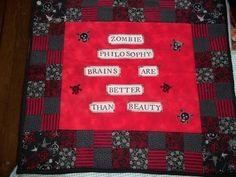 Zombie Philosophy mini quilt made for angel package on Craftster