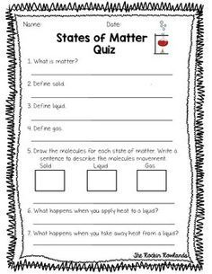 States of matter assessments. fourth grade scienceelementary Second Grade Science, Middle School Science, Elementary Science, Science Classroom, Teaching Science, Student Teaching, Classroom Activities, Classroom Decor, States Of Matter Worksheet