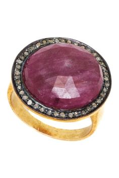 Champagne Diamond Sliced Ruby Sapphire Ring