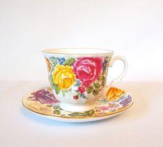 Vintage Crown Trent Multi Color Floral Teacup - England by HouseofLucien, $16.00