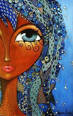 Romi Lerda. Los bellos rostros femeninos creados por esta artista argentina de estilo cubista, nos miran con sus grandes ojos adornados con flores y arco iris de brillantes colores. Me encantan!