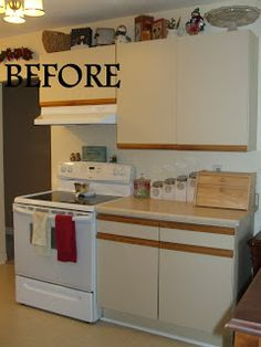 How to Turn Ugly 80s Cabinets into a Contemporary Farmhouse Kitchen ...