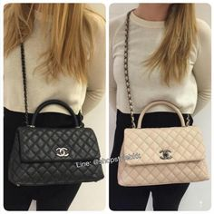 Chanel Black and Beige Coco Handle Medium Bags