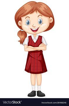 One happy girl in red uniform vector image on VectorStock