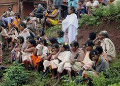 Dangoria tribals protest against the proposal for bauxite mining in Niyamgiri hills at Tadijhola in Kalahandi district of Orissa. ■ Photo: PTI
