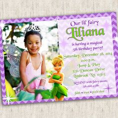 Tinkerbell Invitation - Custom Photo Printable Design - Tinkerbell Party - Fairy Party