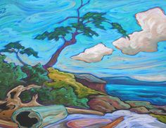 This painting by Fred Peters captures the joy I felt when Keith asked me to be his wife here: Madrona Point.