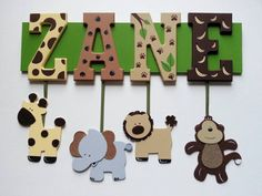 Jungle Safari Themed Name Sign Wall Letters by AlbonsBoutique, #babyshower New listing, easier to order :)