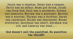 He qualifies the called.