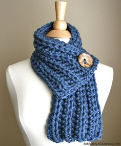 New Color - WEST BAY SCARF - Warm, soft & stylish scarf with large brown coconut button in Blue ~ www.BehindMyPicketFence.com