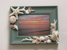 Aqua Seashell Photo Frame Shell Picture Frame by TheSleepySeahorse