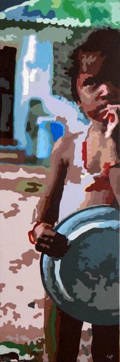 """""""Porque tuve hambre y me dísteis de comer"""", 150x50 cms, acrílico sobre lienzo, Ximena Girado, artegirado@gmail.com, instagram: ximenagiradoart"""
