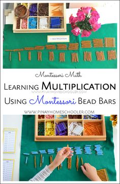 Learning Multiplication Using Montessori Colored Bead Bars Montessori Color, Montessori Homeschool, Montessori Elementary, Montessori Classroom, Montessori Activities, Homeschooling, Elementary Math, Multiplication Activities, Math Activities For Kids
