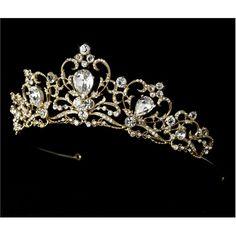 New Royal Gold Rhinestone Crystal Bridal Tiara Headband $97.13