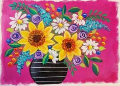 How to Paint a Daisy Flower in Real Time Acrylic Painting Tutorial by JM Lisondra Acrylic Painting For Beginners, Simple Acrylic Paintings, Acrylic Painting Techniques, Acrylic Painting Canvas, Canvas Art, Flower Vases, Flower Art, Daisy Painting, Watercolor Painting