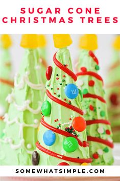 Are you looking for some Christmas treats to make with the kids this holiday season? These sugar cone Christmas trees are so fun and easy to put together, they're perfect for everyone! They're fun to make and even more fun to eat! via @somewhatsimple Christmas Treats To Make, Christmas Snacks, Xmas Food, Christmas Crafts For Kids, Christmas Candy, Simple Christmas, Christmas Themes, Christmas Holidays, Merry Christmas