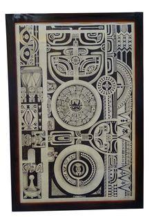 Motifs marquisiens Tapa en écorce de mûrier 125 x 50 Ua pou, Iles Marquises 2014