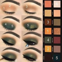 ABH Subculture makeup tutorial: step by step hunter green and orange shades are used to create this stunning fall look. #makeuplooksstepbystep