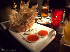 Eine der möglichen Vorspeisen im ENTE Bistronomie in Bonn: Focaccia mit drei Dips