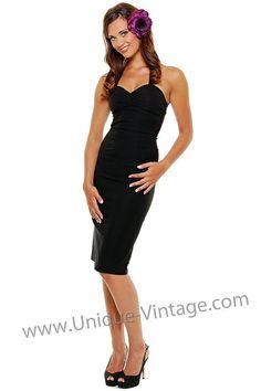 Black Ruthless Stretch Halter Dress - Unique Vintage - Cocktail, Evening & Pinup Dresses