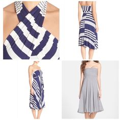 Gorgeous stripe convertible cover up dress Gorgeous cover up dress that can be worn multiple ways, dress was worn a few times. Recently dry cleaned, navy blue with white stripe. Elan Dresses