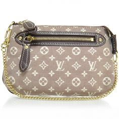 This is an authentic LOUIS VUITTON Monogram Idylle Mini Pochette Accessories in Sepia.   This stylish accessories bag is finely crafted of cocoa colored canvas with an ivory Louis Vuitton monogram.