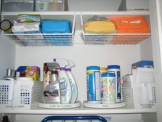 Utility closet with lazy susans, baskets, and hanging shelves for organized storage