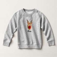 Toddler's Christmas Princess Rudolph with Name Sweatshirt - diy cyo personalize design idea new special custom