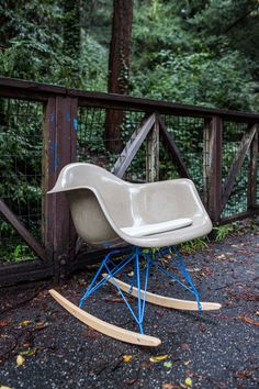 Vintage Gray Eames Arm Chair Rocker by AmericanMobler