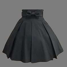 Knee-length Black Cotton Western Style Classic Lolita Skirt - USD $ 59.99 I love the bow