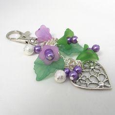 Bag Charm Purple Flowers