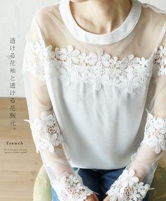 【楽天市場】【再入荷♪8月19日12時&22時より】(ホワイト)「french」透けるお花レーストップス:cawaii