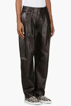 ALEXANDER WANG Black Lambskin Wide Leg Trouser