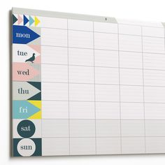 Cachette lists this large blank planner pad as a kids product but I think the design is quite sophisticated — perfect for a desk or workspace with a nod to the Mad Men aesthetic. Weekly Planner Pad, Wall Planner, Faire Part Invitation, School Timetable, Star Chart, Family Wall, Print Layout, Toddler Fun, Writing Paper