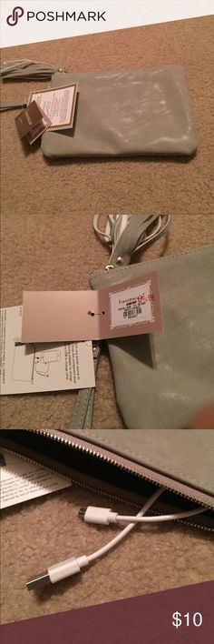 Francesca's gray charging wristlet New with tags Francesca's Collections Bags Clutches & Wristlets