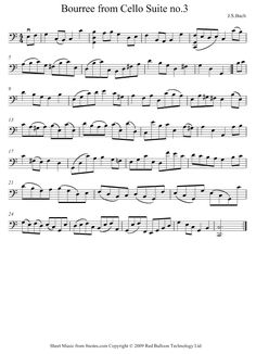 Bach -  JS Bach - Bouree from Suite No.3 sheet music for Cello