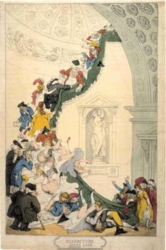 xhibition Stare Case circa 1800 Thomas Rowlandson This print depicts visitors to the Royal Academy falling headlong down the stairs of Somerset House, which is now the Courtauld Institute of Art. The architect who designed the building, Sir William Chambers, claimed it 'a momument to the taste and elegancy of His Majesty's reign'.