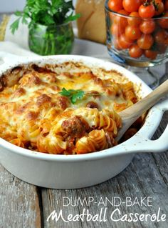 You don't even have to boil the pasta for this easy Dump and Bake Meatball Casserole!