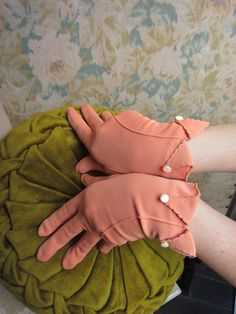 1950s Gloves  Wrist Length  Pale Peach Nylon by loveintheafternoon