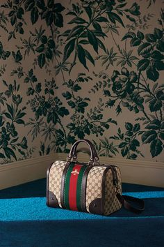 The new Gucci Vintage Web embroidered bag, in signature motif finished with a green-red-green Web stripe and bee detail from the Cruise 2016 collection by Alessandro Michele.